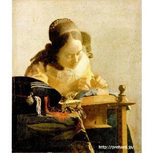 フェルメール「レースを編む女」 原画同寸 (6号)(24cmx21cm) (プリハード・デジタグラ)|micbox-art-shop