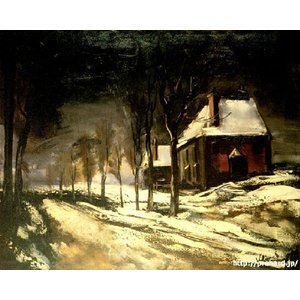 ヴラマンク 「雪の道と家」 原画同縮尺近似(6号)(プリハード・デジタグラ)|micbox-art-shop