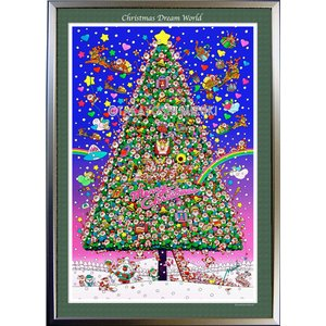 ★Xmas Dream World・A1判(59.4×84.1cm)・額:CFフレーム ・高級キャンバスクロス・ジクレー版画|micbox-art-shop