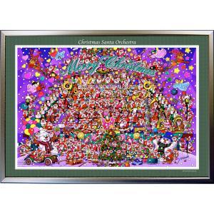 ★Xmas Santa Orchestra・A1判(59.4×84.1cm)・額:CFフレーム ・高級キャンバスクロス・ジクレー版画|micbox-art-shop