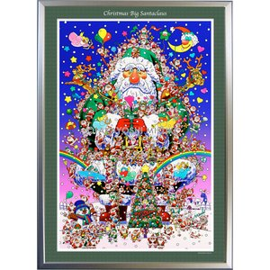 ★Xmas Big Santa・B1判(72.8×103.0cm)・額:CFフレーム ・高級キャンバスクロス・ジクレー版画|micbox-art-shop