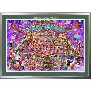 ★Xmas Santa Orchestra・B1判(72.8×103.0cm)・額:CFフレーム ・高級キャンバスクロス・ジクレー版画|micbox-art-shop