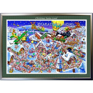 ★Xmas Santa Land・B2判(51.5×72.8cm)・額:CFフレーム ・高級キャンバスクロス・ジクレー版画|micbox-art-shop