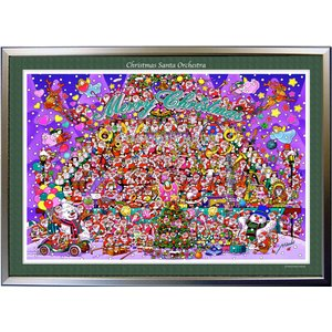 ★Xmas Santa Orchestra・B2判(51.5×72.8cm)・額:CFフレーム ・高級キャンバスクロス・ジクレー版画|micbox-art-shop