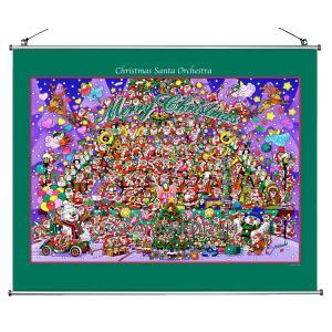 ★Xmas Santa Orchestra(60×56.5cm)・クロスロール(防災)・ジクレー版画|micbox-art-shop