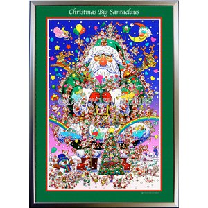 ★Xmas Big Santa Claus・A3判(29.7×42.0cm)・フレーム入り・MC画材用紙・ジクレー版画 micbox-art-shop
