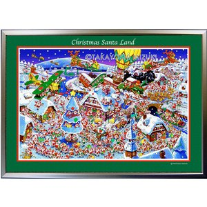 ★Xmas Santa Land・A3判(29.7×42.0cm)・フレーム入り・MC画材用紙・ジクレー版画 micbox-art-shop