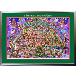 ★Xmas Santa Orchestra・A3判(29.7×42.0cm)・フレーム入り・MC画材用紙・ジクレー版画 micbox-art-shop