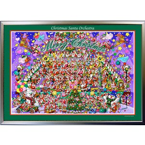 ★Xmas Santa Orchestra・B2判(51.5×72.8cm)・フレーム入り・MC画材用紙・ジクレー版画 micbox-art-shop