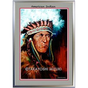 ◆インディアン・B2判 (51.5×72.8cm)・フレーム入り・American Indian・MC画材用紙・アートポスター・ジクレー版画|micbox-art-shop