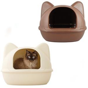 iCat アイキャット オリジナル ネコ型トイレット スコップ付 マットブラウン 猫 トイレ