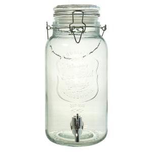 ガラス製 ジャグ ドリンクサーバー 蛇口付き 透明 4L - micomema