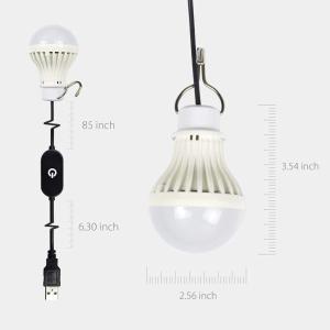 URAQT USB 電球 電球形 USB LED 電球形 USBライト無段階調光 タッチスイッチ 延長ケーブル2.5m 5W 省エネ 長寿命|micomema