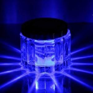 ソーラー 充電式 LED イルミネーションライト 水晶ガラス ガーデンライト 屋内照明 円形 円型 グラデーション ライト (水晶ガラス)|micomema