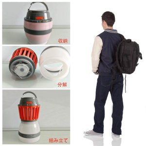 BS-shop キャンプライト LEDランタン 電撃殺虫器 UV光源吸引式 オレンジ色 アウトドア用 usb充電式 micomema
