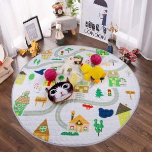 Winthomeベビープレイマット キッズ 遊びマット おもちゃ収納袋 片付けマット ブロック収納マット 綿素材 直径150cm (1)|micomema
