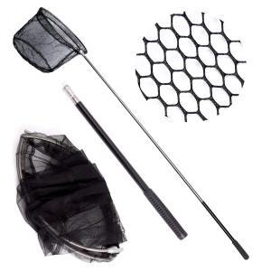 タモ網 ステンレス製ハンドル ワンタッチネット ランディングネット 折り畳み式 伸縮5段階玉 釣り 伸縮式 長さ 調節 可能 魚取り 釣り具 micomema