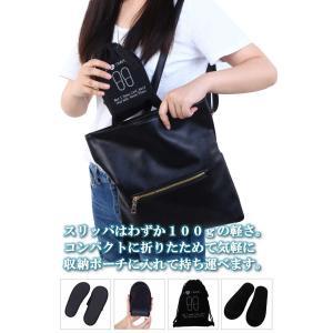 TraveLeap(トラベリープ) 携帯スリッパ 折り畳み 男女兼用 収納ポーチ セット (男女兼用 ブラック)|micomema