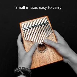 カリンバ 17キー アフリカ 指ピアノ Kalimba マホガニー製ソリッドウッド - ナチュラルカ...