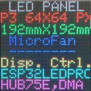 P3 RGB LEDマトリックスパネル 64X64ピクセル 192mmx192mm 室内用|microfan