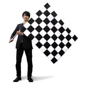 特大チェッカーフラッグ(黒白) 90×120cm 黒/白 塩ビパイプ付 レース/F1/モトクロス/競争|micstore