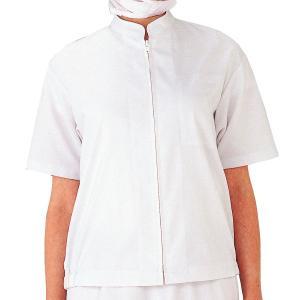 ミドリ安全 白衣 男女共用半袖ブルゾン MHS05 上 ホワイト 食品産業 食品加工 厨房 キッチン|midorianzen-com