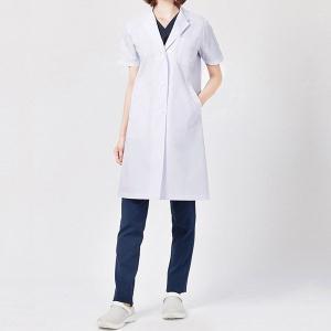 ドクターウェア 女子半袖診察衣シングル 2532PO-1 ホワイト 白衣 医療 衛生 作業着・服|midorianzen-com