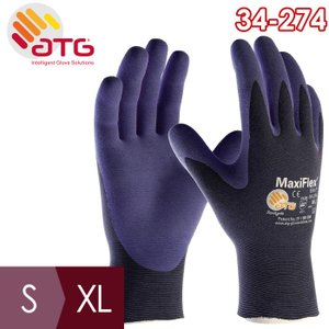 ATG 最薄精密作業手袋 MaxiFlex Elite 34-274 S〜XL 手のひらコーティング 最軽量 最薄 14g|midorianzen-com