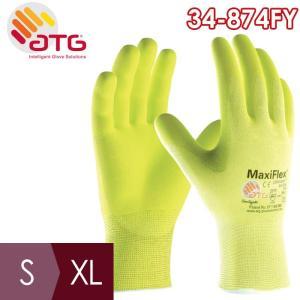 ATG 通気精密作業手袋 MaxiFlex Ultimate 34-874FY S〜XL ニトリル 手のひらコーティング イエロー|midorianzen-com