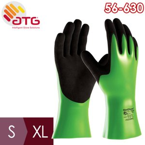 ATG 耐薬品作業手袋 MaxiChem 56-630 S〜XL 手のひらコーティング 裏布付 全長30cm グリップ性 midorianzen-com