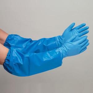 エステー ニトリル製手袋 腕カバー付 NO.360 薄手タイプ S〜L 業務用 5双 ブルー 業務用 作業用 現場 工場 事務 保護用品|midorianzen-com