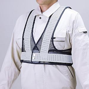 風抜けメッシュショートベスト HO-613 紺×白反射 高視認装備品 現場|midorianzen-com