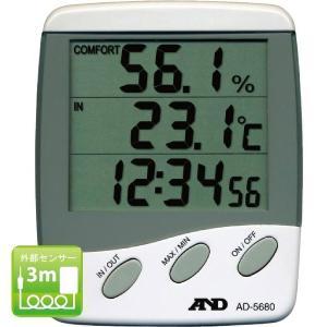 熱中症予防強化月間 時計付大型液晶温湿度計 AD5680 熱中 温湿度計 デジタル 現場|midorianzen-com