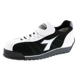 ディアドラ安全靴 キングフィッシャー ホワイト&ブラック DIADORA スニーカー KF-12 ローカット メッシュ 通気性 作業靴 midorianzen-com