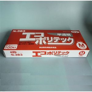 エコポリテック No383 使い捨てタイプ100枚入  M 半透明|midoriya-yshop