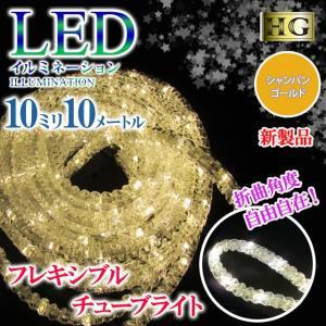 チューブライト 造形 LED ロープライト 10mm フレキシブルチューブライト 10M シャンパンゴールド クリスマス イルミネーション (sb-5485)