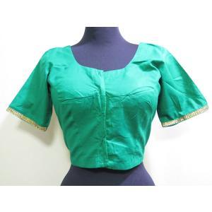 cho029 チョリ ベリーダンス衣装 コットン100% サリー用 ショート丈トップス シンプルデザイン 金縁テープ飾り 緑 2サイズ|mifashion