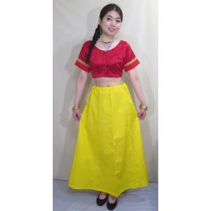 サリー用ペチコート 黄色 インド綿 ムスリム イスラムファッション 民族衣装 ボリウッド ベリーダンス pet023|mifashion