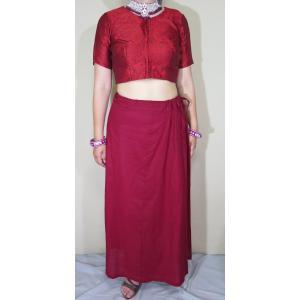 サリー用ペチコート 赤茶色 インド綿 ムスリム イスラムファッション 民族衣装 ボリウッド ベリーダンス pet030|mifashion