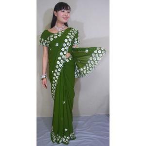 抹茶色のシフォンにベージュの花の刺繍とストーンと裾のスカラップが可愛いサリー sar338|mifashion