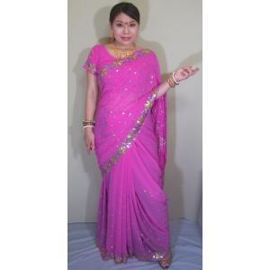 インド サリー 通販 民族衣装 紫がかったピンク色の柔らかいシフォンの生地に金やピンクのスパンコールで花が表現されたゴージャス・サリー sar402|mifashion