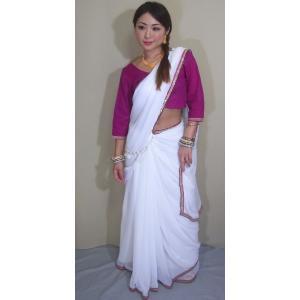 インド サリー 通販 民族衣装 生地は柔らかいシフォン、縁取りは金の輝くテープや玉飾りが美しい優雅なサリー sar403|mifashion
