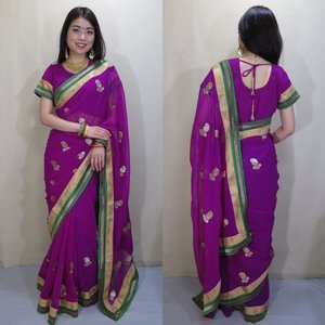 シフォン・カタン・サリー、チョリ、ペチコートのセット インド民族衣装 上品な紫をベースに、緑色で縁取られた光沢のある真鍮と白金色のラインが映える sar411|mifashion