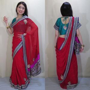 ジャイプーリ・カタン・サリー、チョリ、ペチコートのセット インド民族衣装 シフォンの上品な赤に、ジャイプール地方独特デザインの手刺繍が豪華 sar413|mifashion