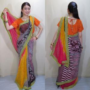 プリント・シフォンのデザイン・サリー インド民族衣装  鮮やかなビタミンカラーとシックなモノトーンの組み合わせがお洒落なセレブ風 sar414|mifashion