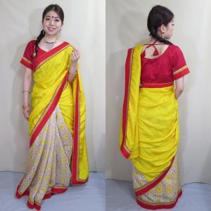 インド シルク サリー 民族衣装 コスチューム ダンス ドレス 日本人の肌色にマッチする黄色と朱色のシンプルなデザイン sar432|mifashion