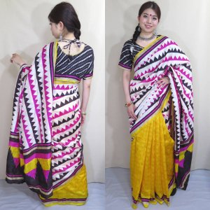 インド シルク サリー 民族衣装 コスチューム ダンス ドレス 日本人の肌色にマッチする黄色と、白・黒・ピンクの大胆 スタイリッシュ・デザイン sar433|mifashion