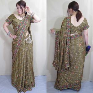 sar437 インド民族衣装 サリー ダンスコスチューム 光沢のあるシルクのモスグリーンにエスニックな金の刺繍と光を反射するミラーワークが豪華なサリー|mifashion