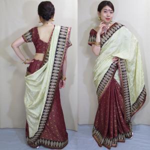 sar449 インド直輸入サリー ワーラーナシー(Varanasi / バラナシ)・シルク・ジョーゼット混紡 カタン 刺繍 ボリウッド ダンス コスチューム|mifashion
