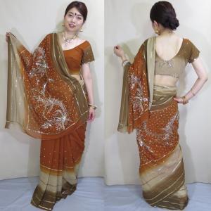 sar450 インド直輸入サリー 手刺繍 金銀カラーのスパンコールやビーズとオリーブ・ベージュ・ブラウン アースカラーのグラデーション|mifashion